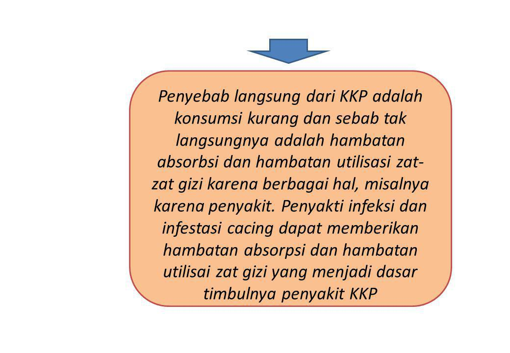 Penyebab langsung dari KKP adalah konsumsi kurang dan sebab tak langsungnya adalah hambatan absorbsi dan hambatan utilisasi zat-zat gizi karena berbagai hal, misalnya karena penyakit.