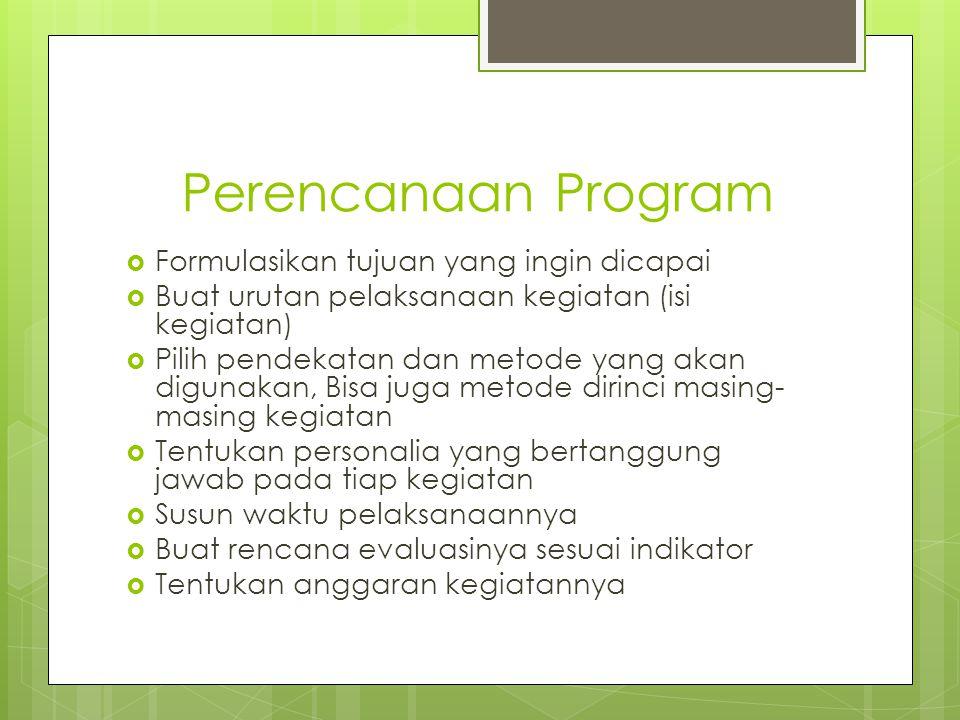 Perencanaan Program Formulasikan tujuan yang ingin dicapai