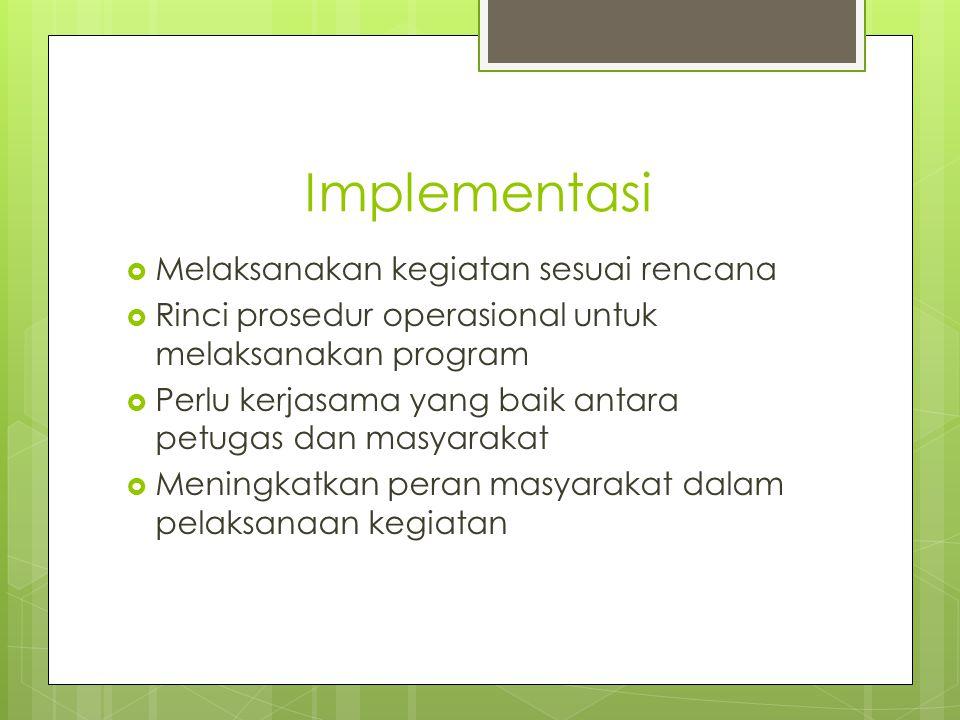 Implementasi Melaksanakan kegiatan sesuai rencana