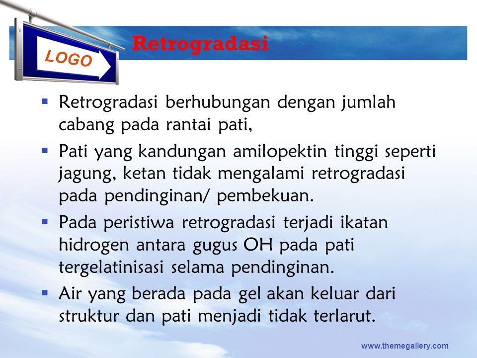 Retrogradasi Retrogradasi berhubungan dengan jumlah cabang pada rantai pati,