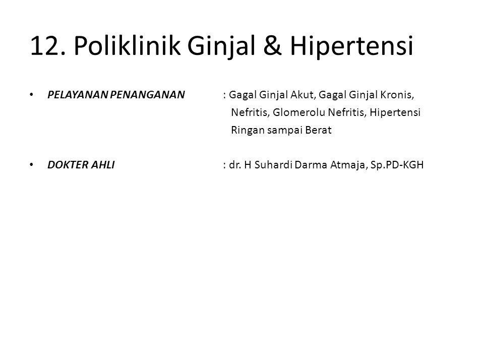 12. Poliklinik Ginjal & Hipertensi