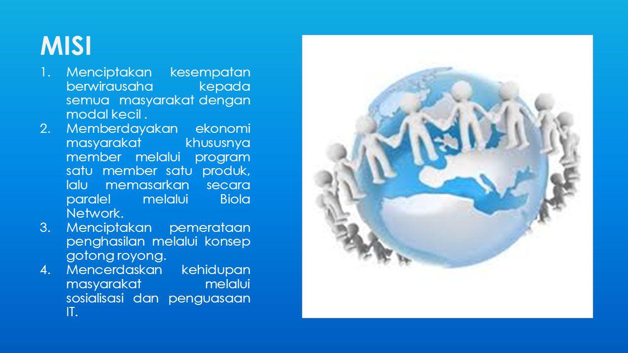 MISI Menciptakan kesempatan berwirausaha kepada semua masyarakat dengan modal kecil .
