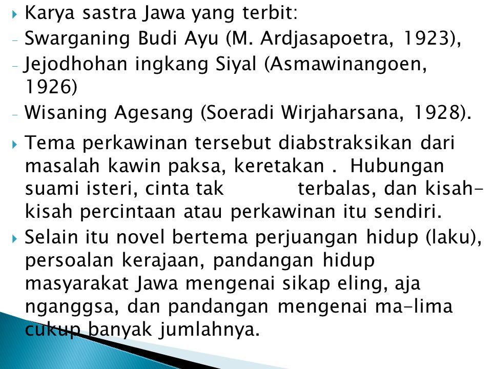 Karya sastra Jawa yang terbit: