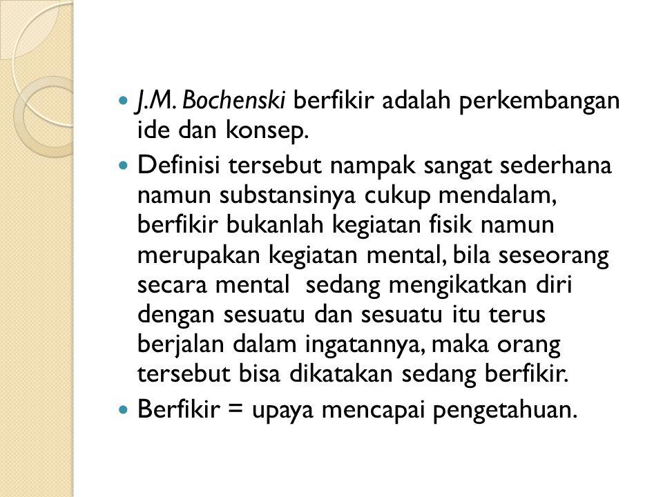 J.M. Bochenski berfikir adalah perkembangan ide dan konsep.