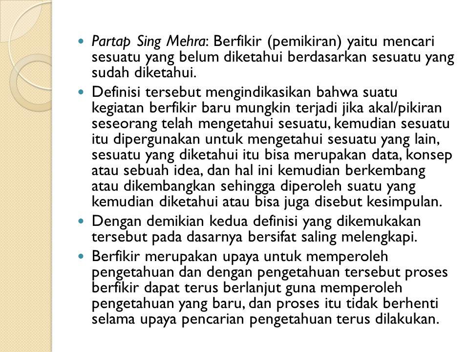 Partap Sing Mehra: Berfikir (pemikiran) yaitu mencari sesuatu yang belum diketahui berdasarkan sesuatu yang sudah diketahui.