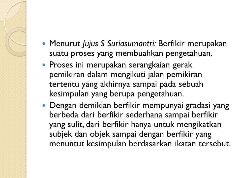 Menurut Jujus S Suriasumantri: Berfikir merupakan suatu proses yang membuahkan pengetahuan.