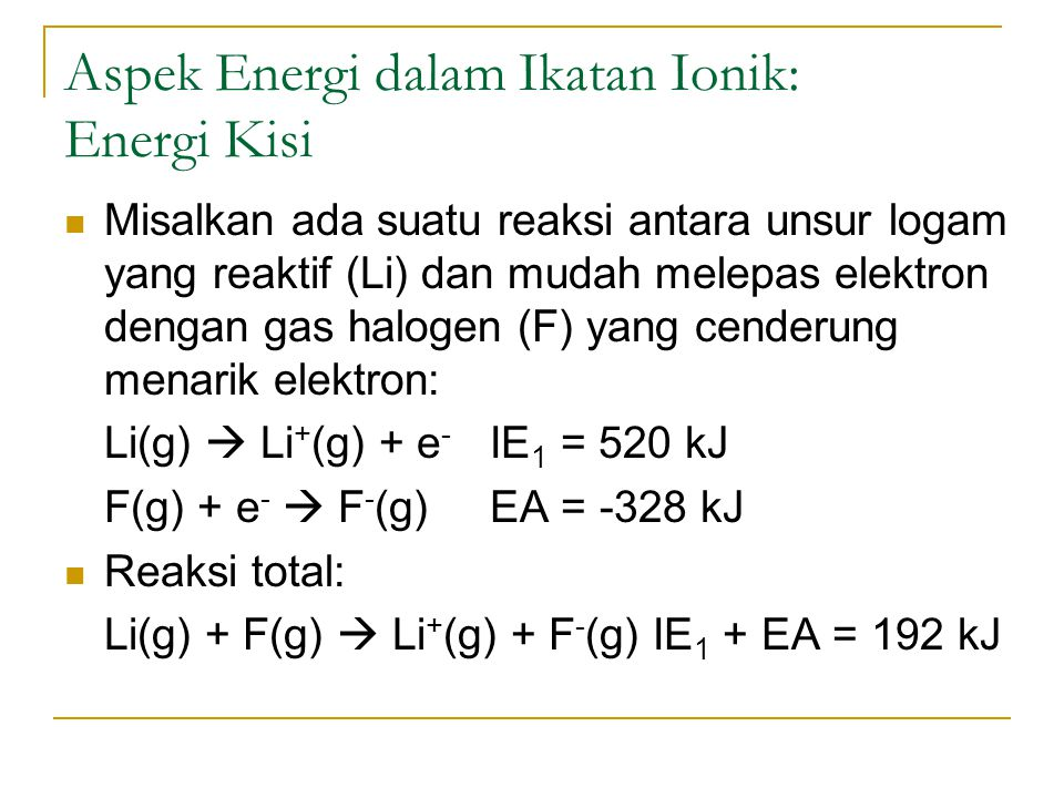 Aspek Energi dalam Ikatan Ionik: Energi Kisi