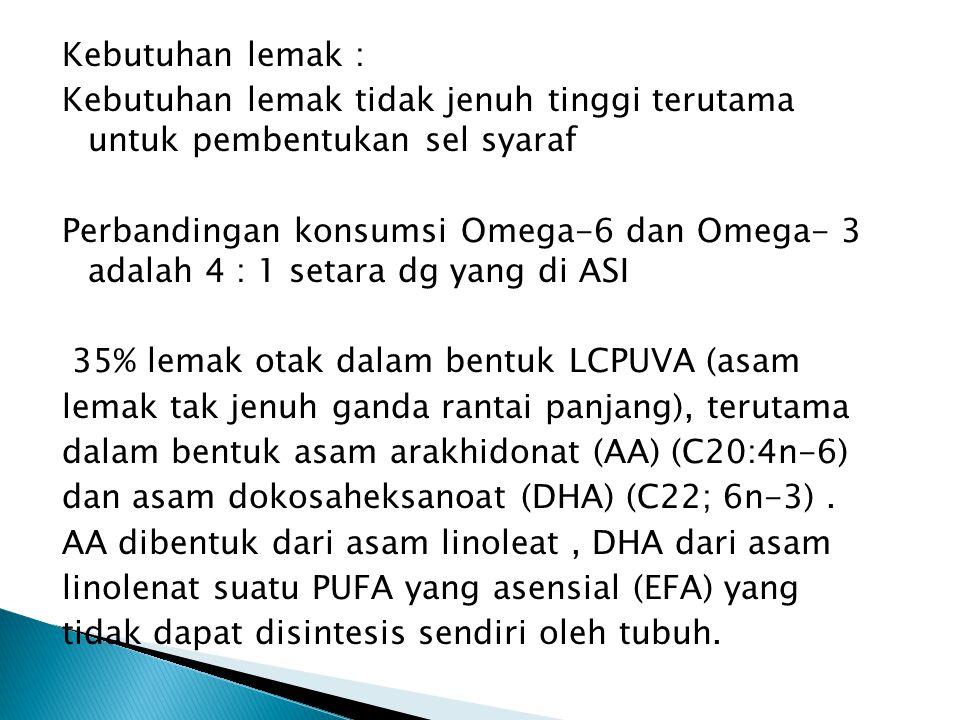 Kebutuhan lemak : Kebutuhan lemak tidak jenuh tinggi terutama untuk pembentukan sel syaraf Perbandingan konsumsi Omega-6 dan Omega- 3 adalah 4 : 1 setara dg yang di ASI 35% lemak otak dalam bentuk LCPUVA (asam lemak tak jenuh ganda rantai panjang), terutama dalam bentuk asam arakhidonat (AA) (C20:4n-6) dan asam dokosaheksanoat (DHA) (C22; 6n-3) .