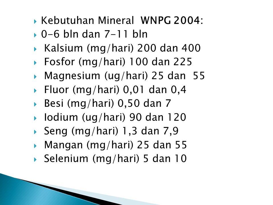 Kebutuhan Mineral WNPG 2004: