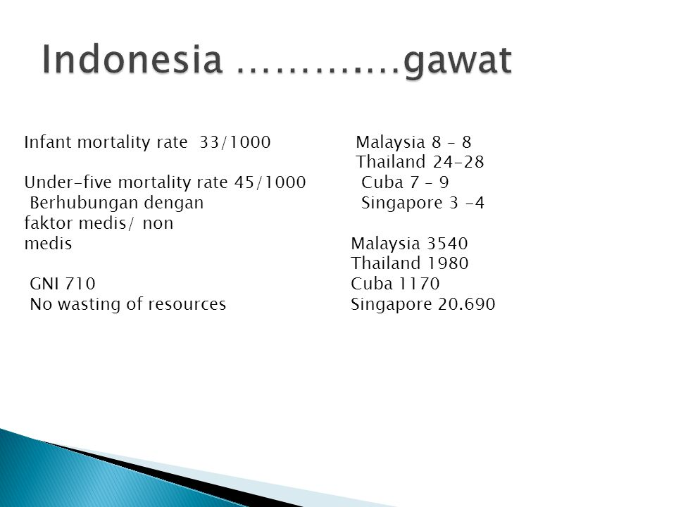 Indonesia ……….…gawat Infant mortality rate 33/1000