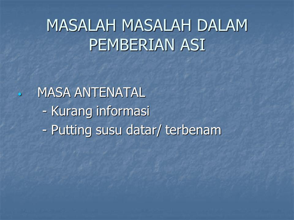 MASALAH MASALAH DALAM PEMBERIAN ASI