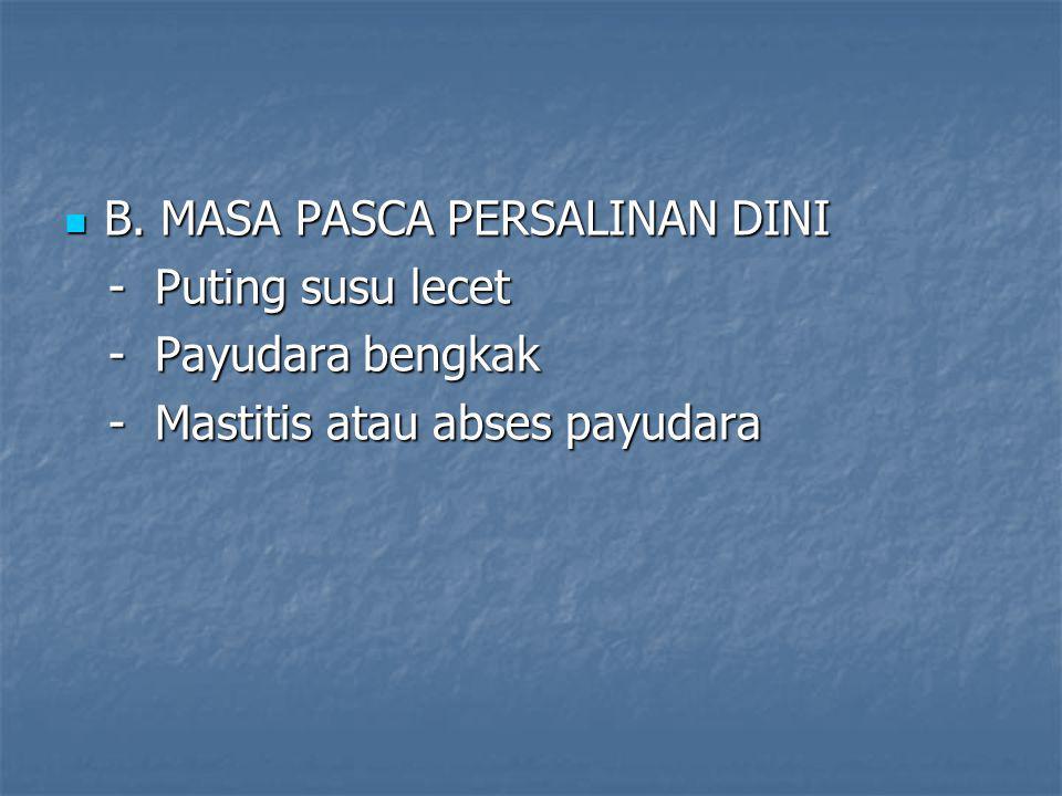 B. MASA PASCA PERSALINAN DINI