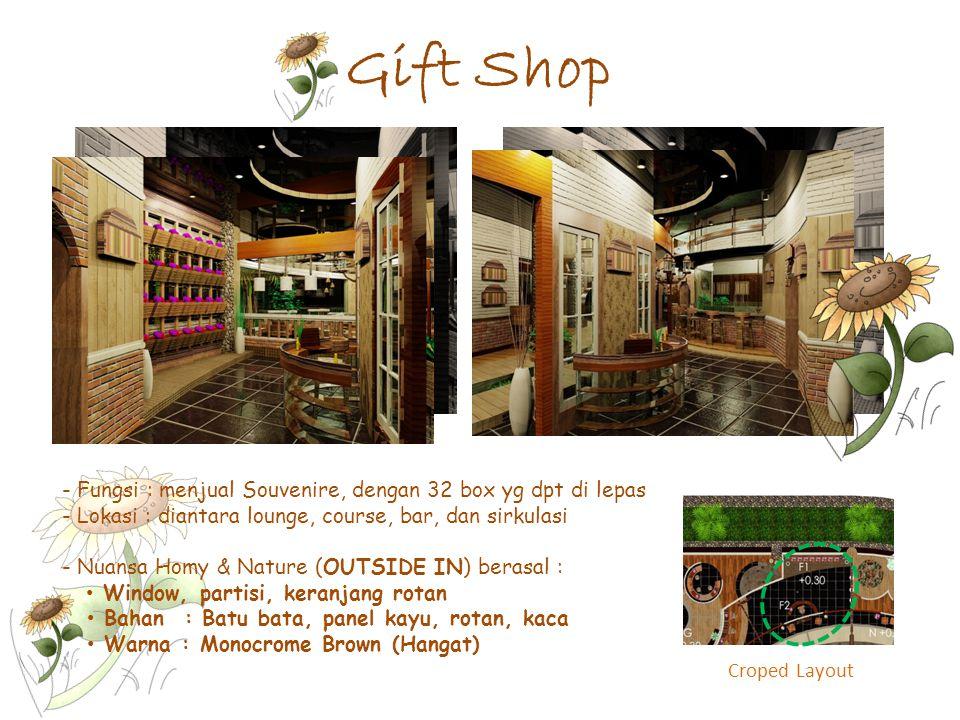 Gift Shop Fungsi : menjual Souvenire, dengan 32 box yg dpt di lepas
