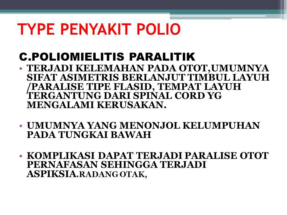 TYPE PENYAKIT POLIO C.POLIOMIELITIS PARALITIK