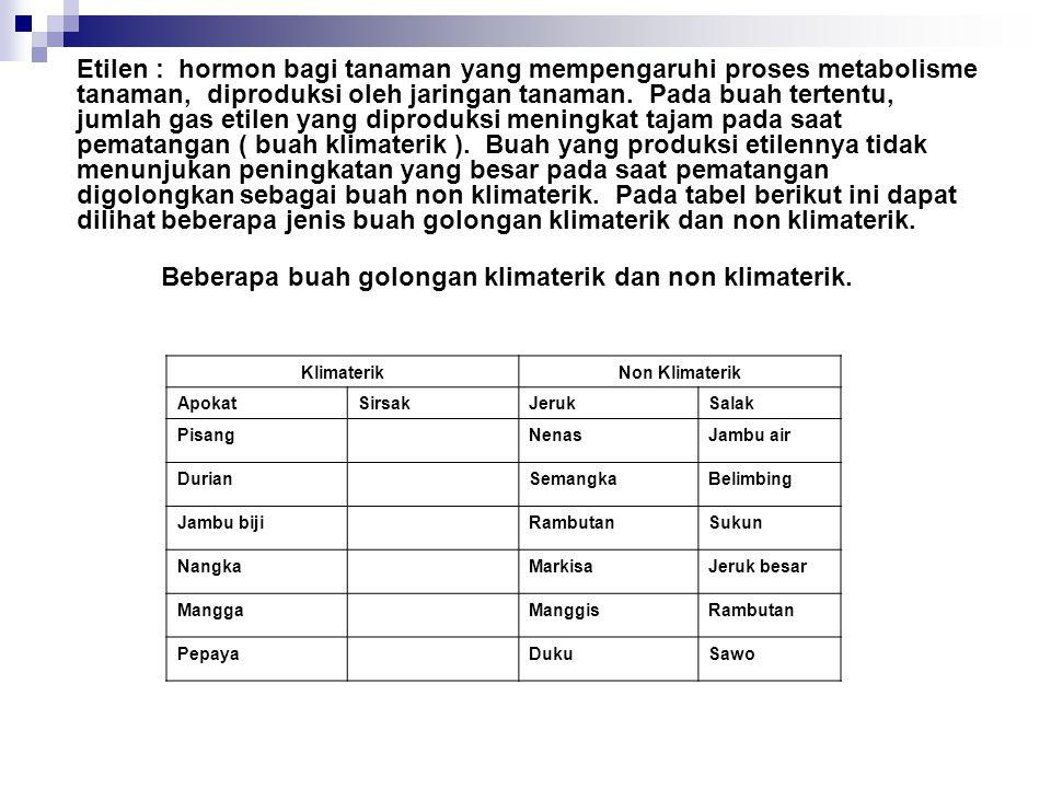 Beberapa buah golongan klimaterik dan non klimaterik.