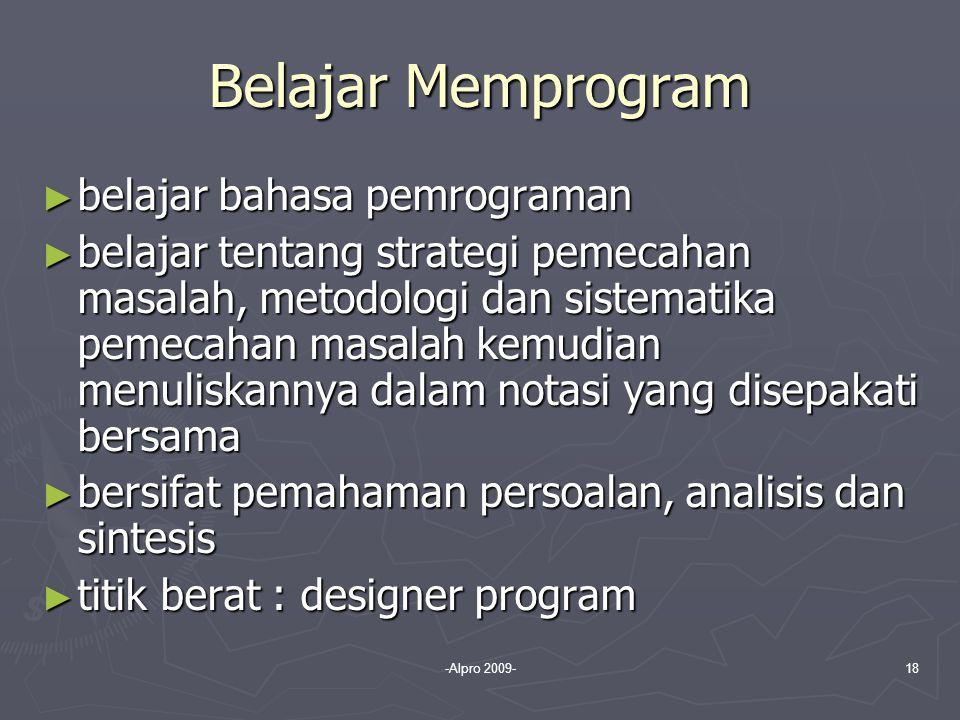 Belajar Memprogram belajar bahasa pemrograman