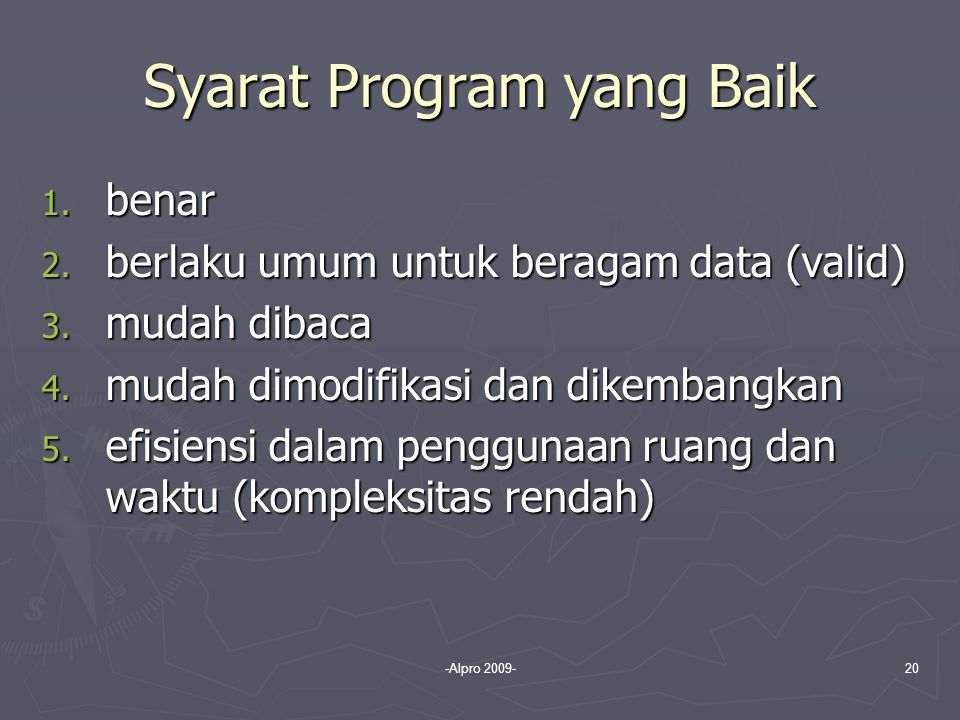 Syarat Program yang Baik