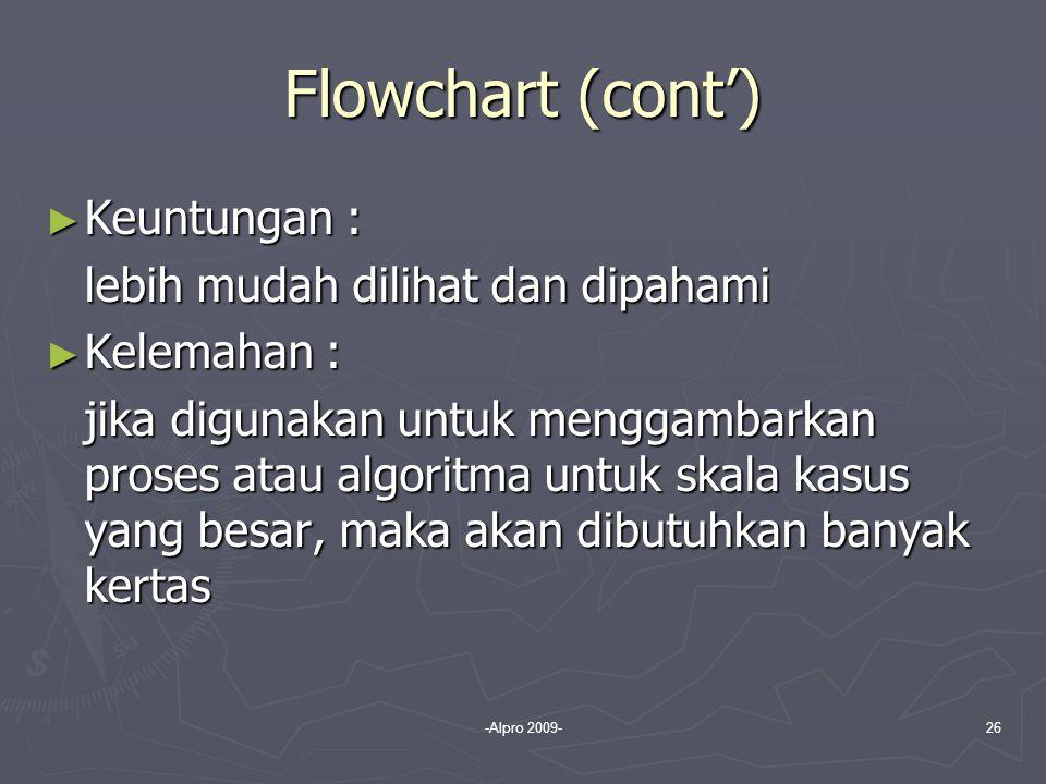 Flowchart (cont') Keuntungan : lebih mudah dilihat dan dipahami