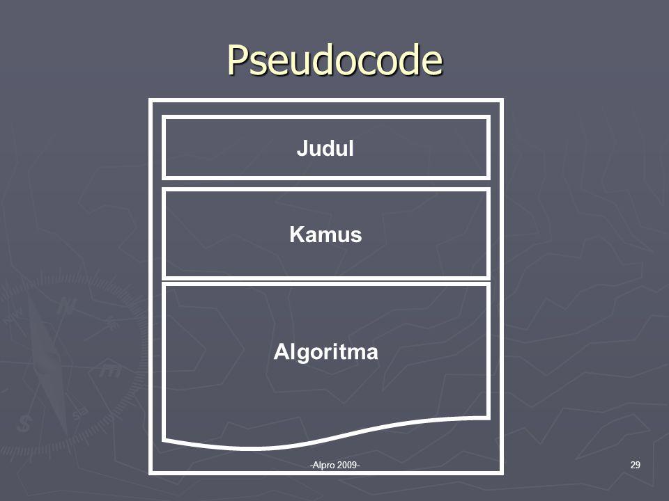 Pseudocode Judul Kamus Algoritma -Alpro 2009-