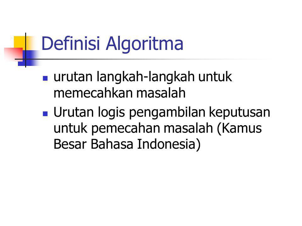 Definisi Algoritma urutan langkah-langkah untuk memecahkan masalah