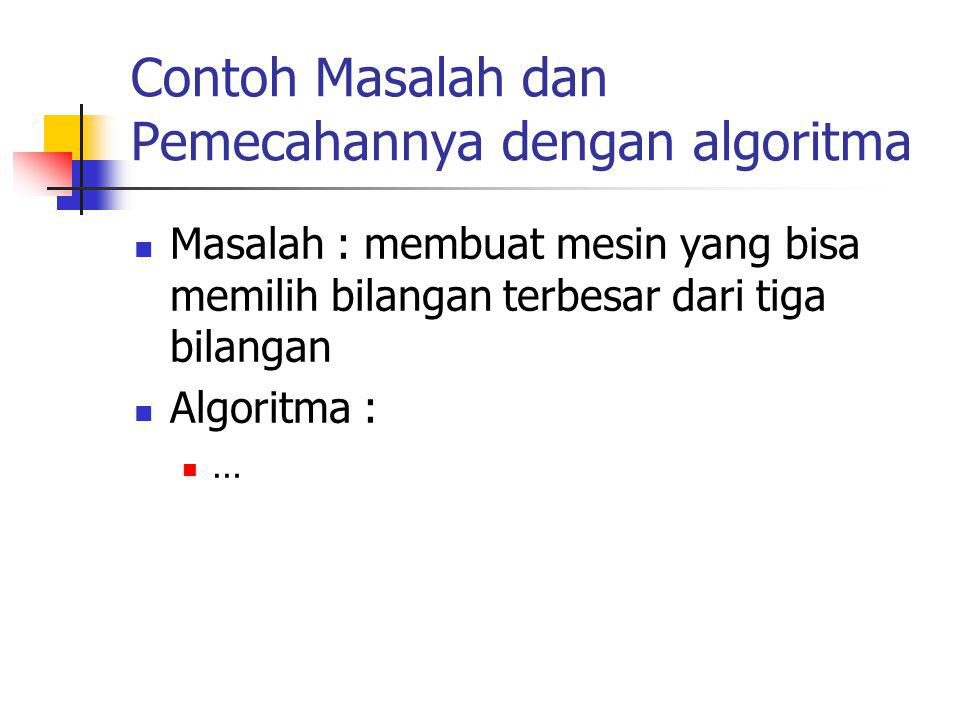 Contoh Masalah dan Pemecahannya dengan algoritma