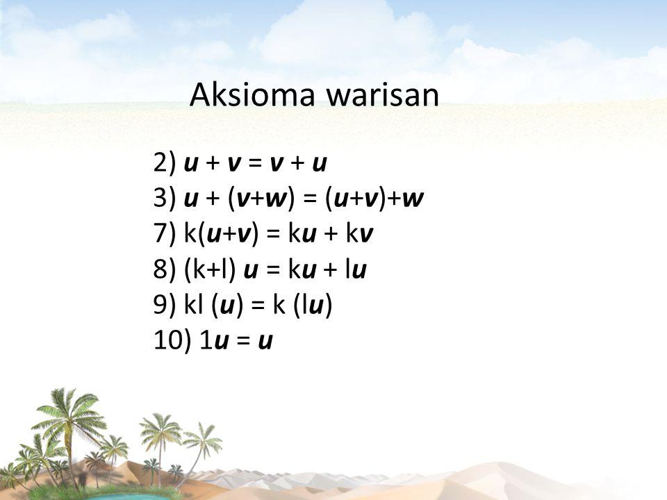 Aksioma warisan 2) u + v = v + u 3) u + (v+w) = (u+v)+w 7) k(u+v) = ku + kv 8) (k+l) u = ku + lu 9) kl (u) = k (lu) 10) 1u = u.