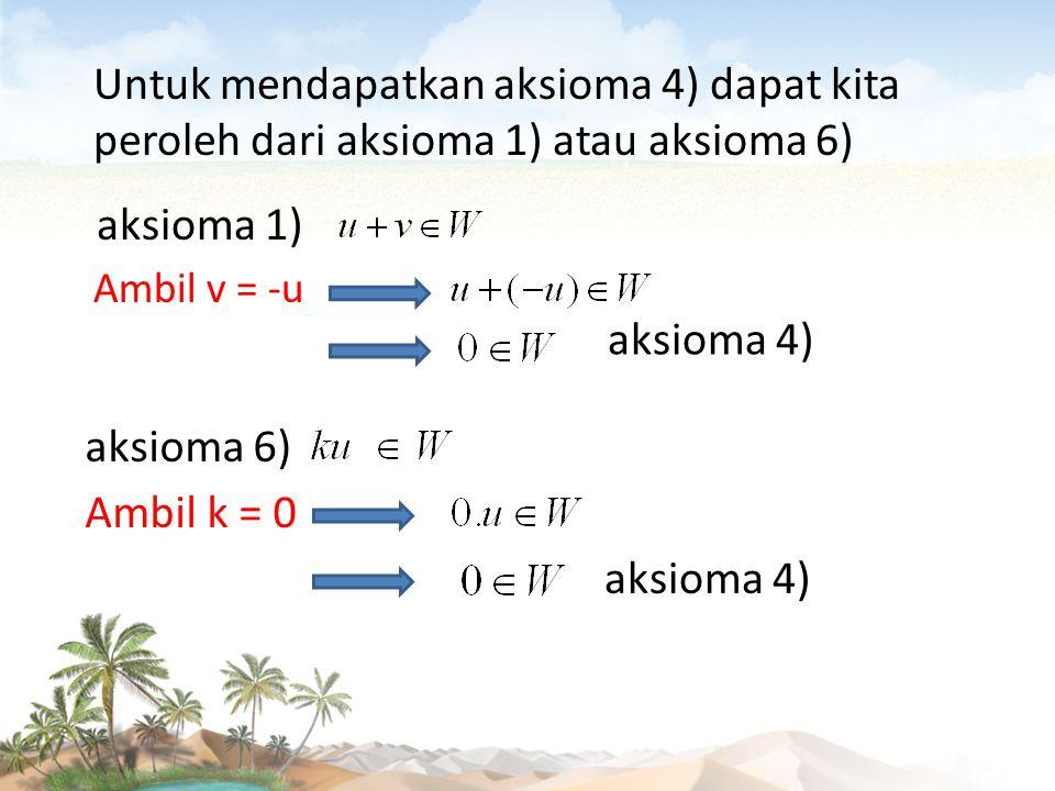 Untuk mendapatkan aksioma 4) dapat kita peroleh dari aksioma 1) atau aksioma 6)