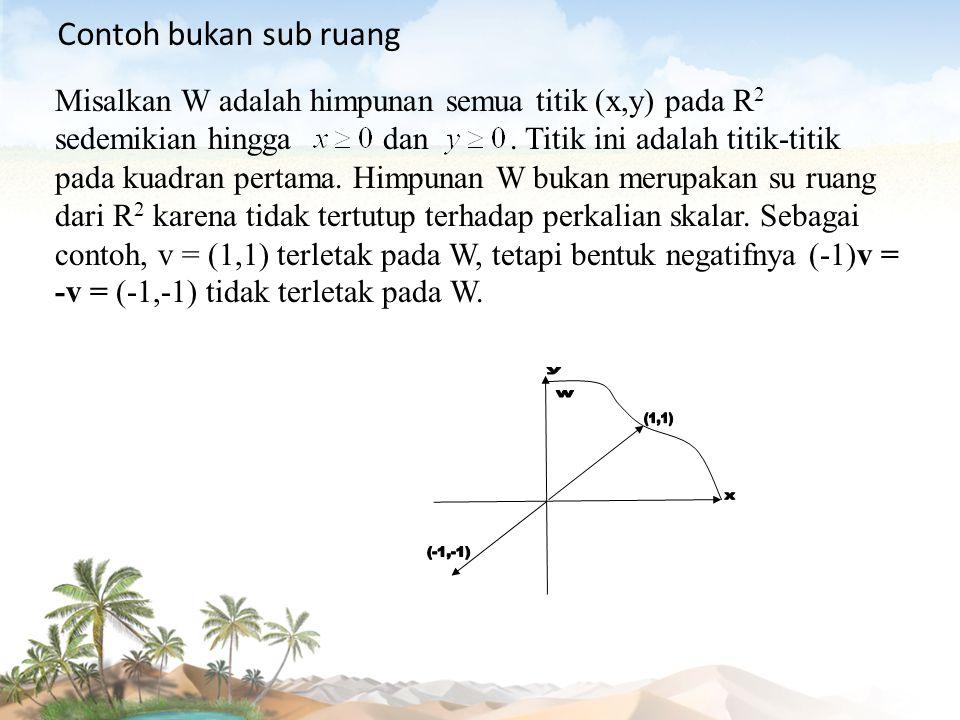 y w (1,1) x (-1,-1) Contoh bukan sub ruang