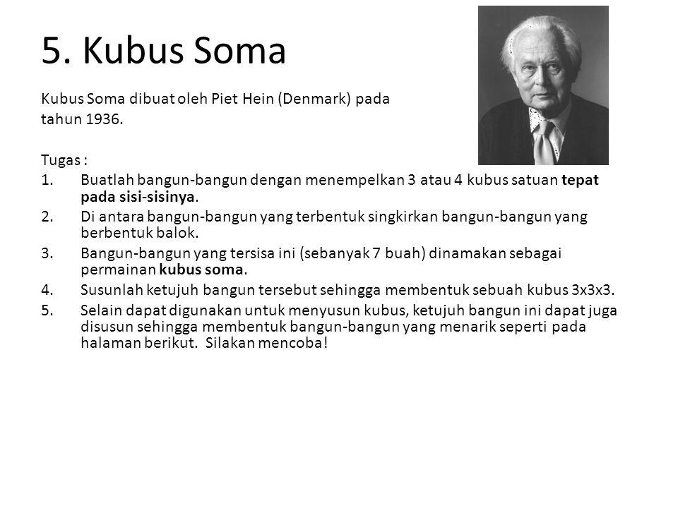 5. Kubus Soma Kubus Soma dibuat oleh Piet Hein (Denmark) pada