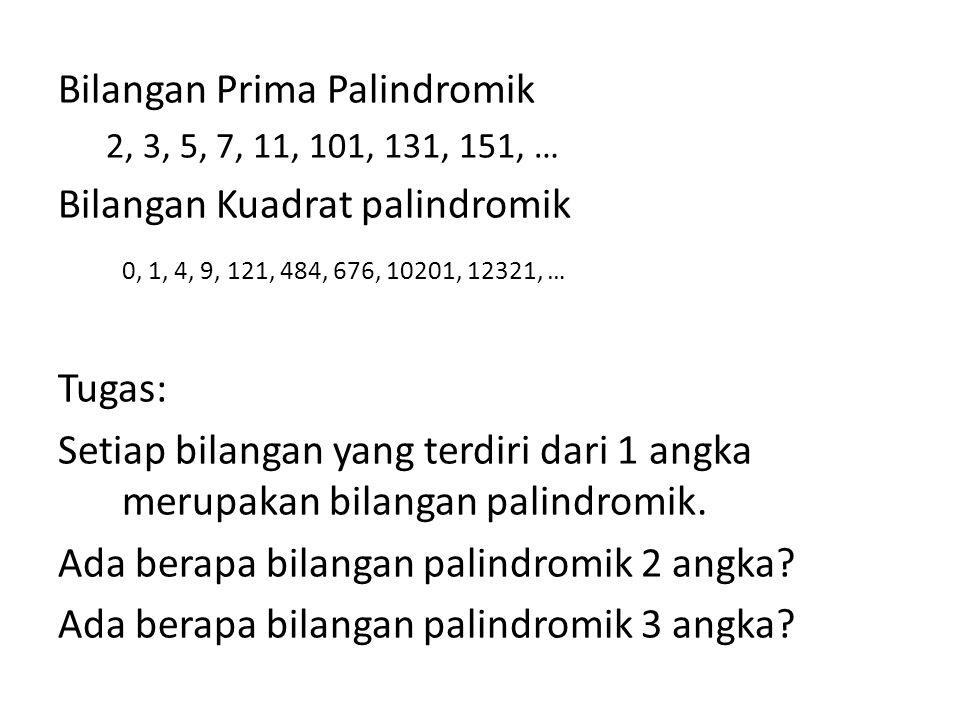 Bilangan Prima Palindromik Bilangan Kuadrat palindromik