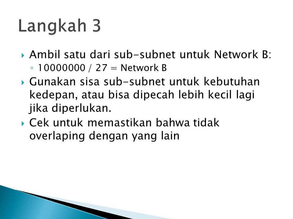Langkah 3 Ambil satu dari sub-subnet untuk Network B: