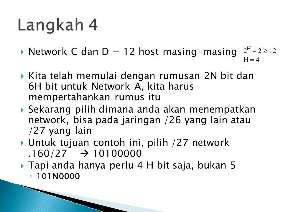 Langkah 4 Network C dan D = 12 host masing-masing