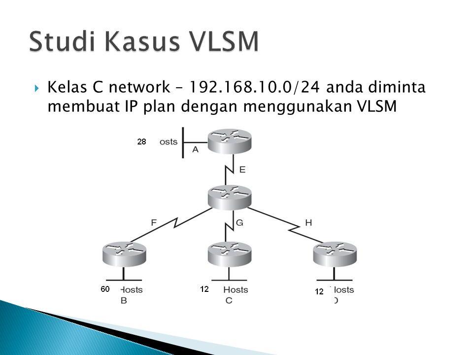 Studi Kasus VLSM Kelas C network – 192.168.10.0/24 anda diminta membuat IP plan dengan menggunakan VLSM.