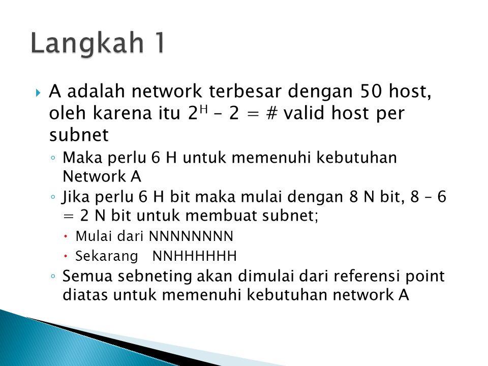 Langkah 1 A adalah network terbesar dengan 50 host, oleh karena itu 2H – 2 = # valid host per subnet.