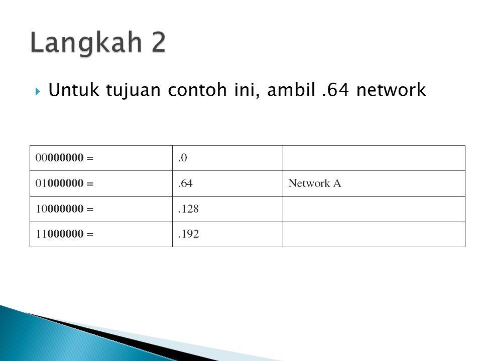 Langkah 2 Untuk tujuan contoh ini, ambil .64 network