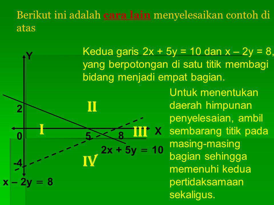II I III IV Berikut ini adalah cara lain menyelesaikan contoh di atas
