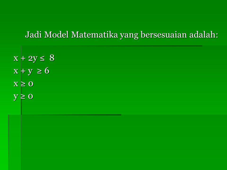 Jadi Model Matematika yang bersesuaian adalah: