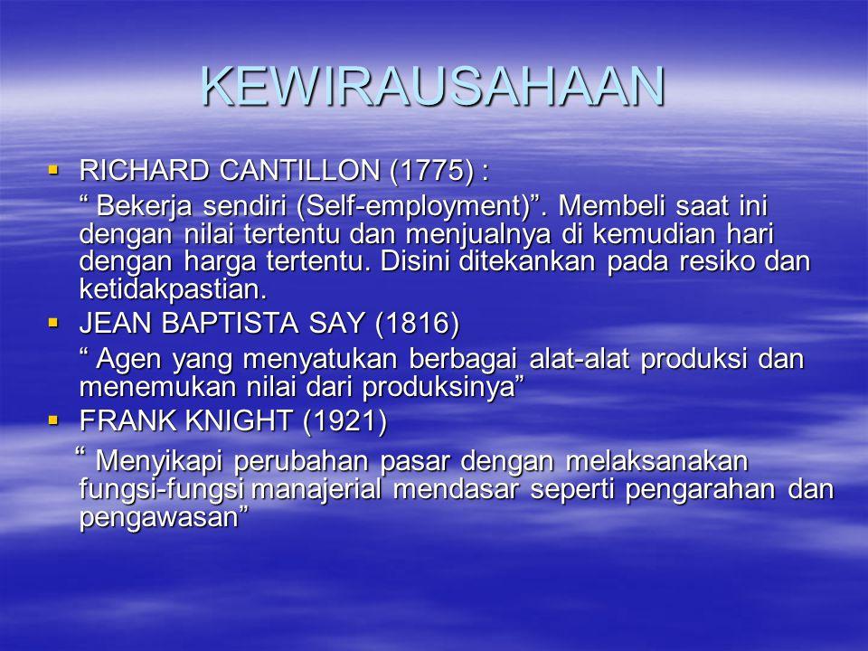 KEWIRAUSAHAAN RICHARD CANTILLON (1775) :