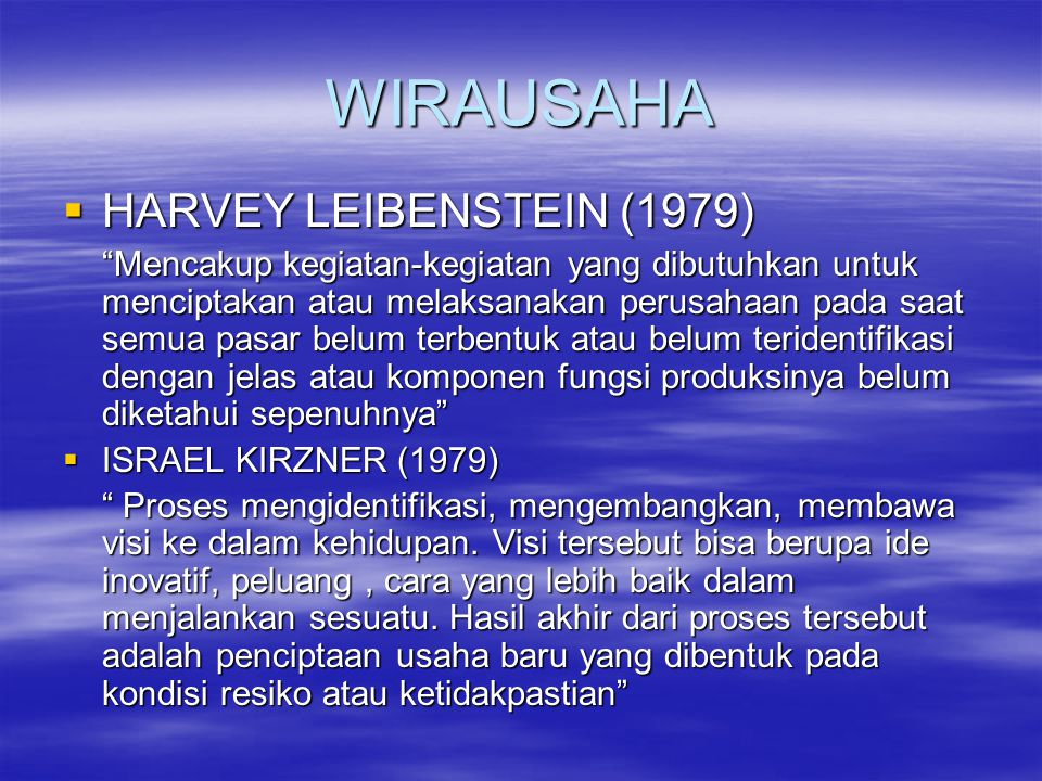 WIRAUSAHA HARVEY LEIBENSTEIN (1979)