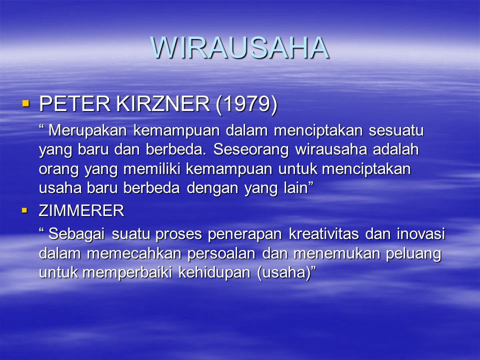 WIRAUSAHA PETER KIRZNER (1979)