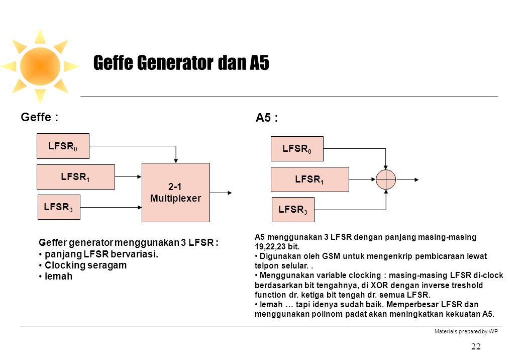 Geffe Generator dan A5 Geffe : A5 : LFSR0 LFSR0 LFSR1 LFSR1 2-1