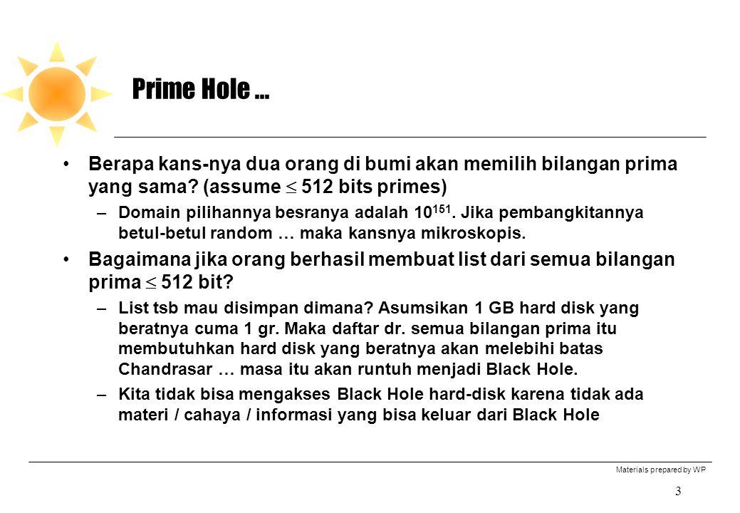 Prime Hole ... Berapa kans-nya dua orang di bumi akan memilih bilangan prima yang sama (assume  512 bits primes)