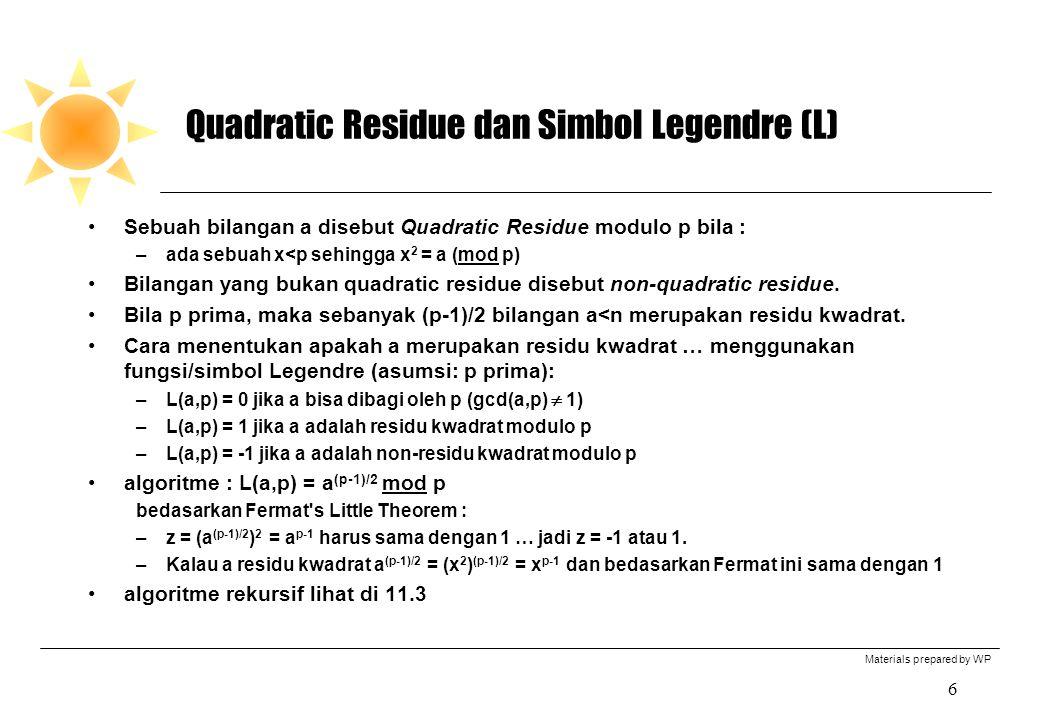 Quadratic Residue dan Simbol Legendre (L)