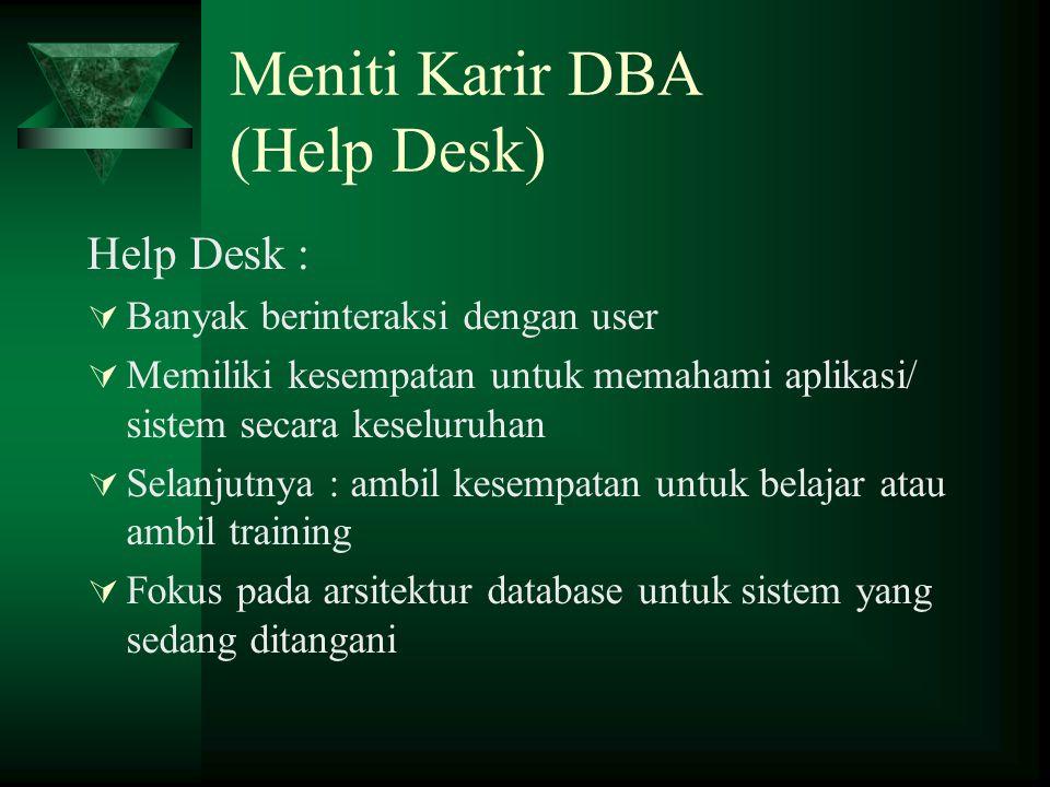 Meniti Karir DBA (Help Desk)
