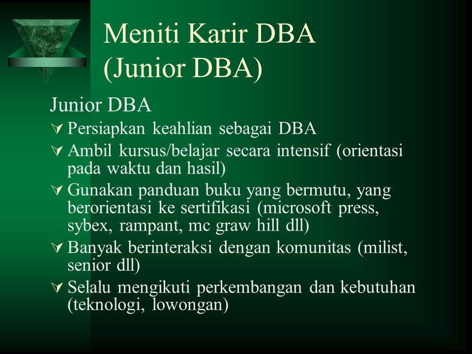 Meniti Karir DBA (Junior DBA)