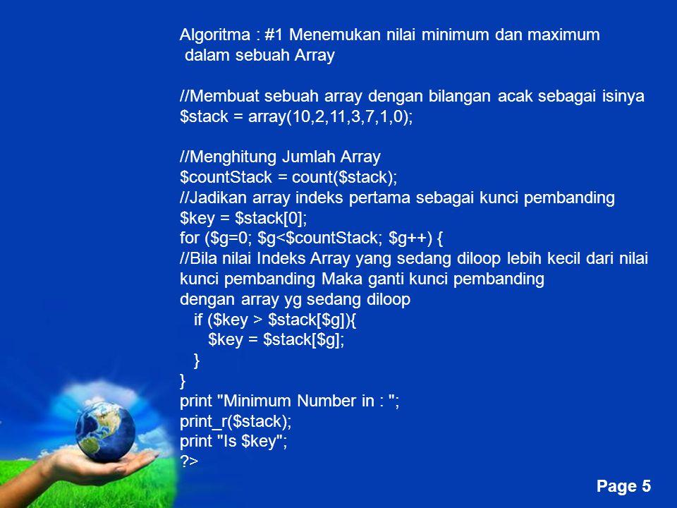 Algoritma : #1 Menemukan nilai minimum dan maximum