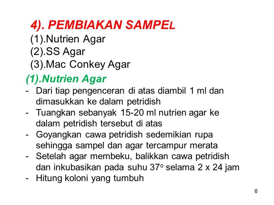 4). PEMBIAKAN SAMPEL (1).Nutrien Agar (2).SS Agar (3).Mac Conkey Agar
