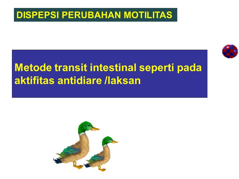 Metode transit intestinal seperti pada aktifitas antidiare /laksan