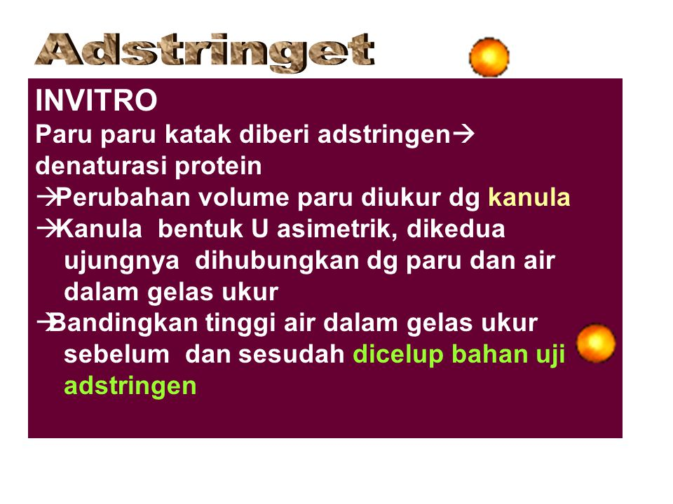 Adstringet INVITRO. Paru paru katak diberi adstringen denaturasi protein. Perubahan volume paru diukur dg kanula.