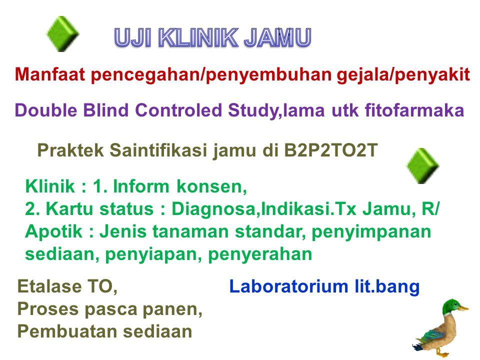UJI KLINIK JAMU Manfaat pencegahan/penyembuhan gejala/penyakit